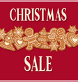 christmas sale poster with gingerbread design vector image vector image