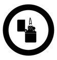 cigarette lighter icon black color in circle vector image vector image