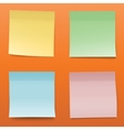 Colorful Paper Notes On Striped Orange Background vector image vector image