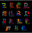 creative corporate identity p letter icons vector image vector image
