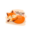cute cartoon lovely red fox with text miss you vector image vector image