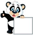 cute panda cartoon holding blank sign vector image