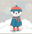 cute winter cat in a coat vector image vector image