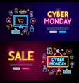cyber monday neon website banners vector image