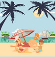 family on summer vacation vector image vector image