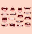 funny cartoon mouths comic hand drawn mouth vector image vector image