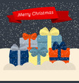 gift boxes on snow and falling snow vector image
