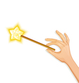 Hand holding magic wand eps10 vector image vector image