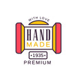 handmade with love logo template premium quality vector image