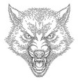 head of roaring wolf vector image vector image