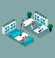 isometric coworking center freelancer young people vector image vector image