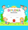 kids diploma certificate background design vector image vector image