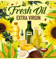 oil of plants or nuts in bottles and butter poster vector image