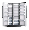 opened wider empty refrigerator vector image vector image