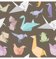 Origami animals seamless pattern vector image