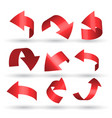 red curved arrows set in 3d style vector image