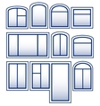 set blue isolated window vector image