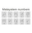 set of monochrome icons with malayalam numbers vector image vector image