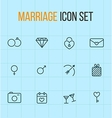 Set of outline marriage icons vector image