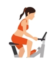 spinning bike fitness silhouette vector image vector image