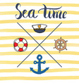Summer Anchor Navy objects and Lettering vector image