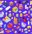 supermarket shopping isometric seamless pattern vector image