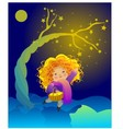 The little girl and the magic tree vector image vector image