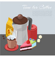 time for coffee cartoon vector image vector image