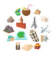 tourism icon set cartoon style vector image