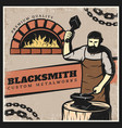 vintage colorful blacksmith poster vector image vector image
