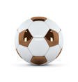 white and gold soccer ball on white background vector image vector image