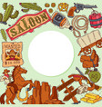 wild west cowboy elements background with place vector image vector image