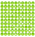 100 events icons set green circle vector image vector image
