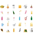 30 detailed icons for food and drinks vector image vector image