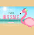abstract summer sale background with flamingo vector image vector image