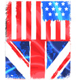 american and england grunge flag vector image vector image