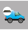 blue delivery van on road vector image vector image