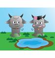 buffalo love in the graden vector image vector image