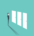 businessman standing and confused to select doors vector image vector image