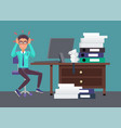 businessman tired of work vector image