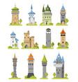 cartoon castle fairytale medieval tower of vector image