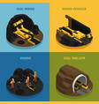 coal mining isometric design concept vector image vector image