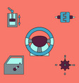 collection of icons and car parts vector image vector image