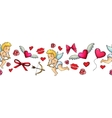 Colorful sketch valentine horizontal border vector image vector image