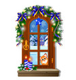 cozy interior home window evening view from vector image vector image