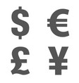 currency icon set money sign euro dollar yen vector image vector image
