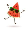 cute watermelon character jumping vector image vector image
