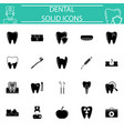 dental solid icon set vector image vector image