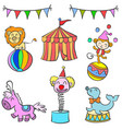doodle circus colorful hand draw vector image vector image