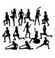 fitness and gym sport activity silhouettes vector image